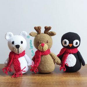 Como tejer un reno un oso y pingüino de navidad